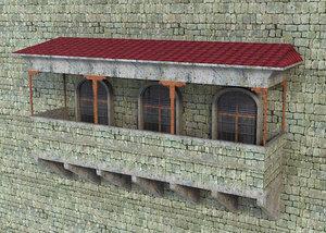3D old balcony