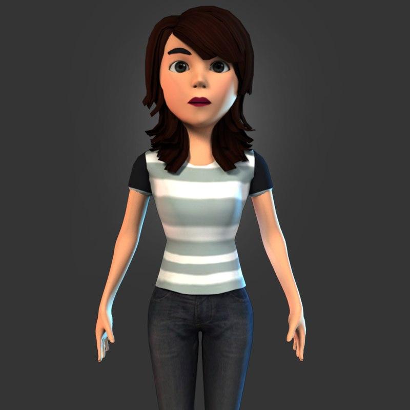 cartoon character young girl model