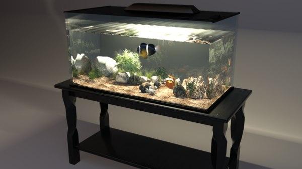 3D home fish aquarium