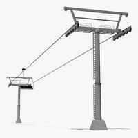 3D aerial ski lift model