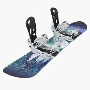 snowboard jones staxx bindings 3D model