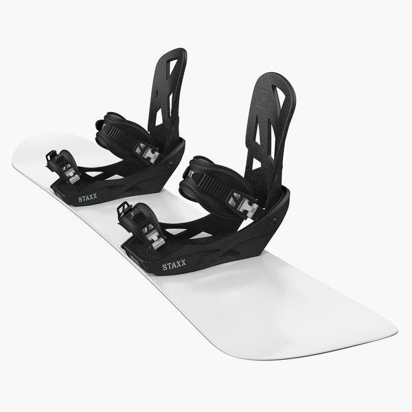 3D model snowboard staxx bindings board