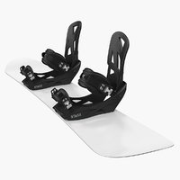 3D model snowboard staxx bindings board