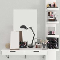 Dressing table with cosmetics