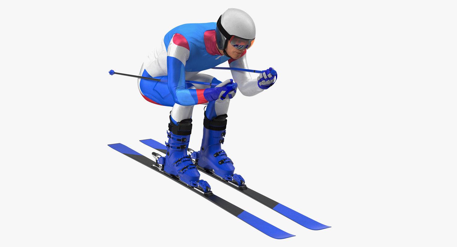 slide skier generic ski 3D