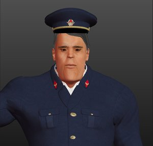 rigged train driver 3D model