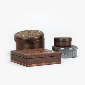 decorative boxes jars 3d model