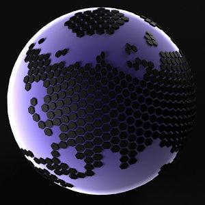 3D model balls techno