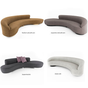 freeform curved sofa vladimir kagan 3D