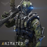 3D scifi - assault soldier model