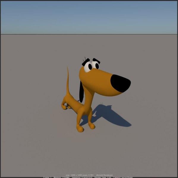 cartoon little dog 2 3D model