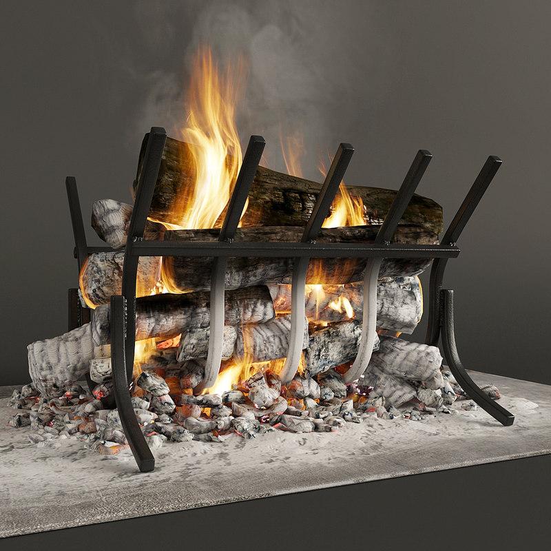 3D firewood fireplace