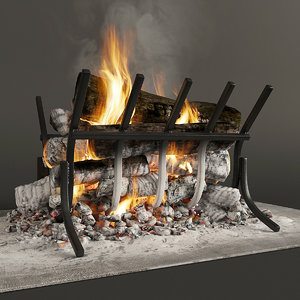 3D firewood fireplace