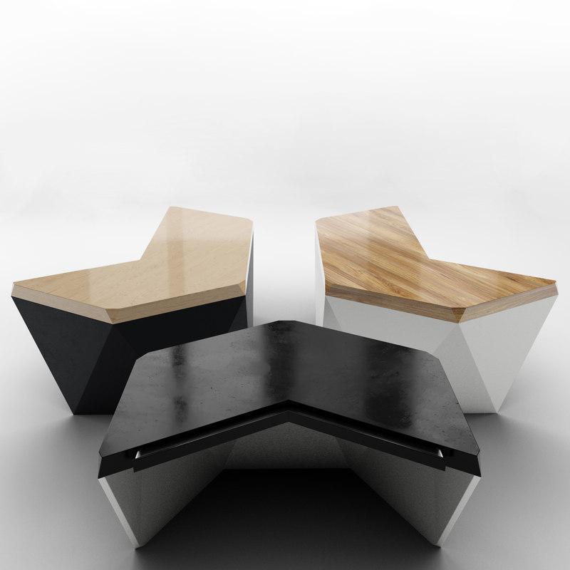 designer desks tables 3D model