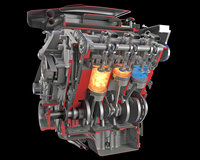 Sectioned Animated V6 Engine Gasoline Ignition