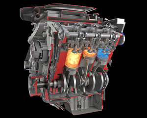 3D sectioned v6 engine gasoline
