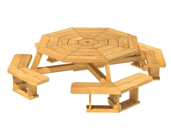 3D model picnic table