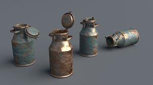 aluminum 10 liters cans 3D model