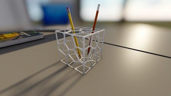 printable parametric pen holder 3D model