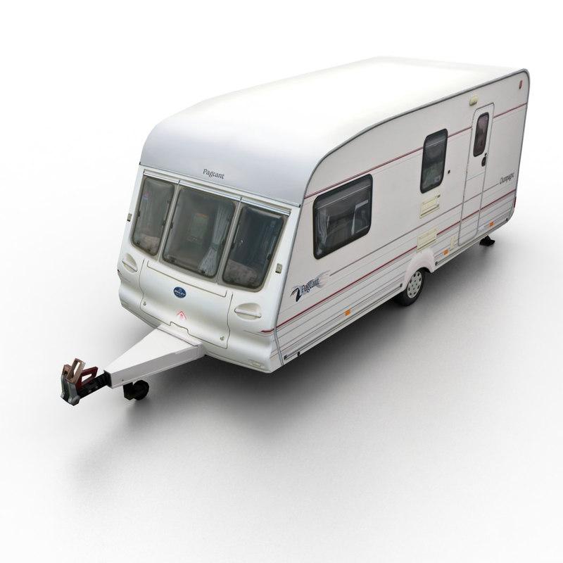 3d model 2009 camper semi-trailer