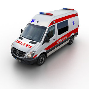 2014 mercedes-benz sprinter ambulance 3d 3ds
