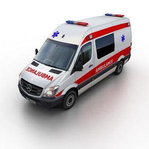 2014 mercedes-benz sprinter ambulance 3d 3ds