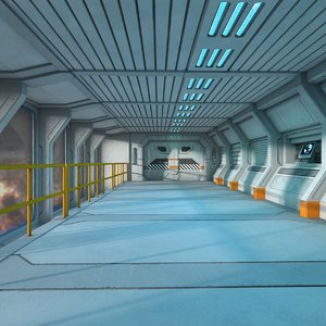 3D futuristic spaceship corridor model