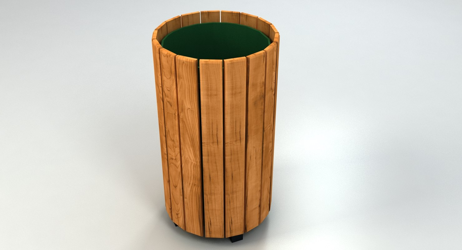 Wood Trash Container