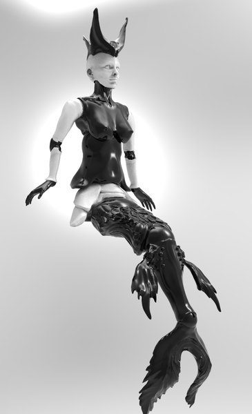 3D mermaid doll print model