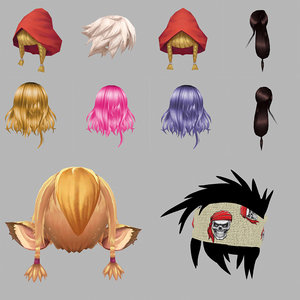 3D anime cartoon hair