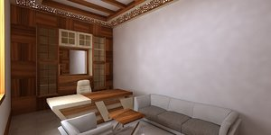 office design wood model