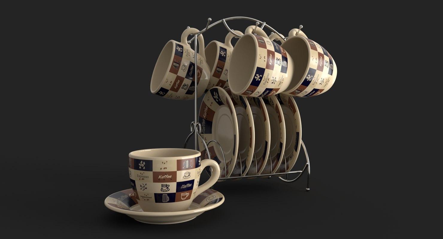 realistic cup saucer set 3D