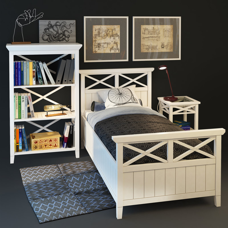bed brittany bookcase single model