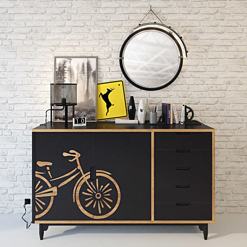 bicycle travel modern lamp 3D