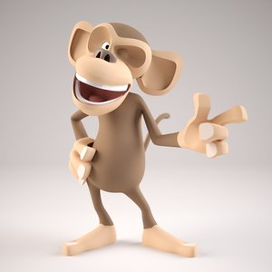 3D cartoon monkey character rigged model