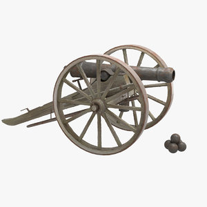 1800 civil war cannon 3D model