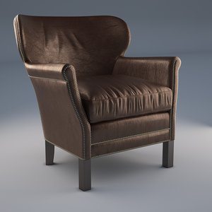 3D professors leather chair nailheads model