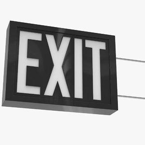 exit panel sign 3D model