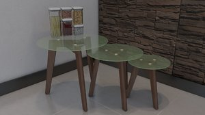 table cafe coffe 3D model