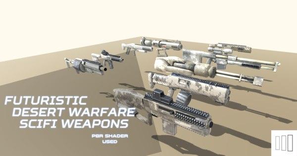 3D scifi weapons desert warfare