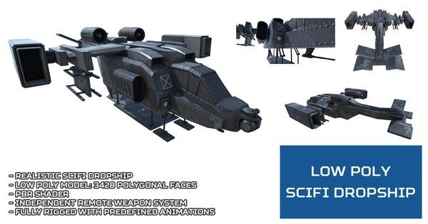 3D unity scifi dropship