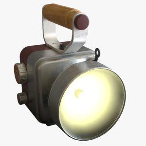 retro handheld flashlight 3D model