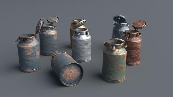 3D aluminum 40 liters cans model