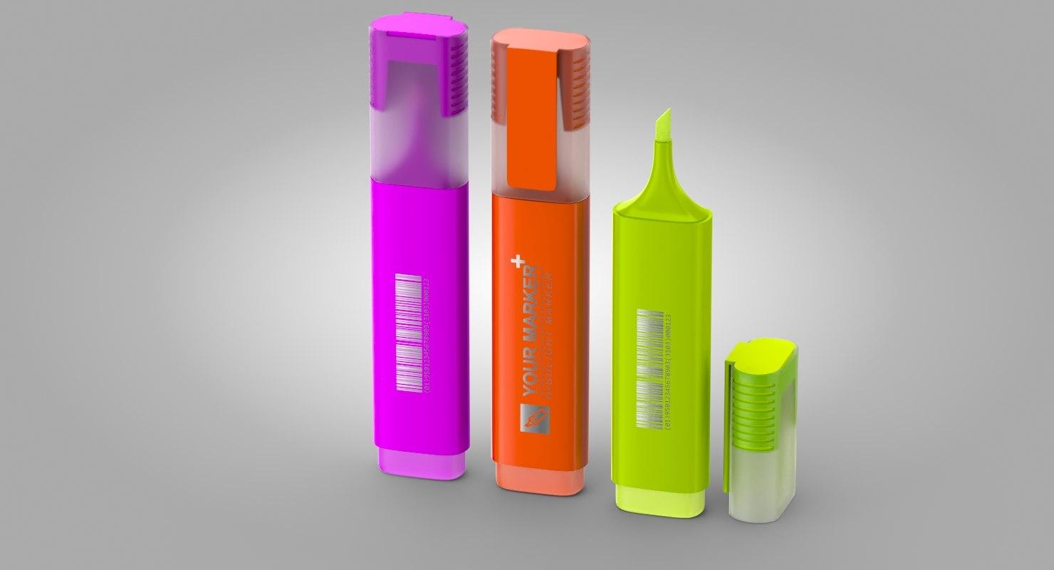 3D highlighter markers-fluorescent