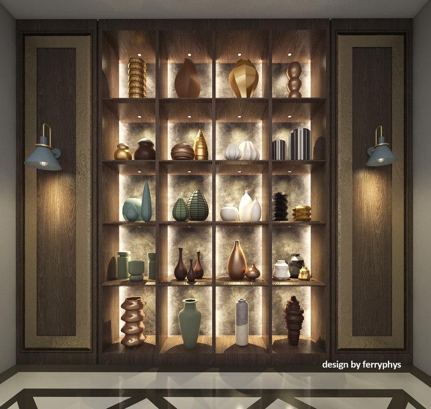 3D vases interior decoration