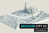 3D moscow city downtown low-poly