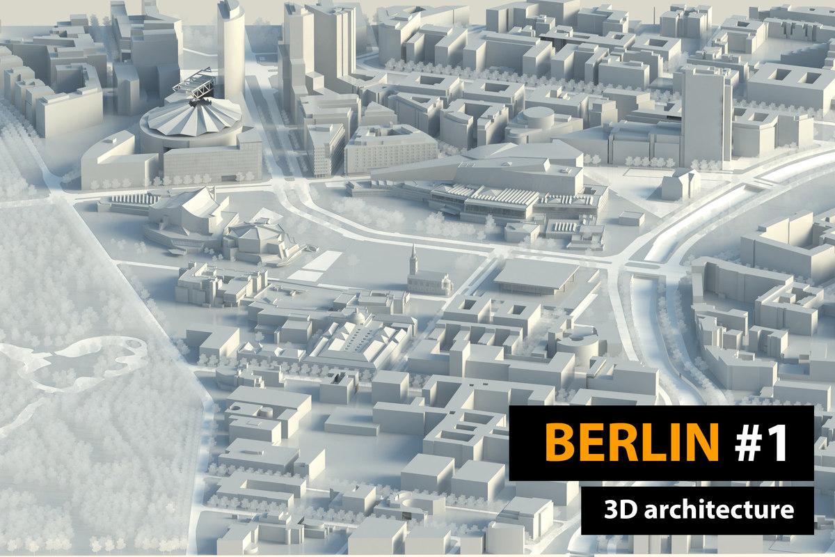 3D berlin city low-poly buildings