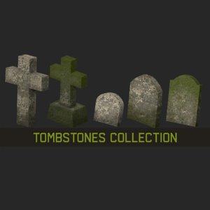 3D cemetery tombstones