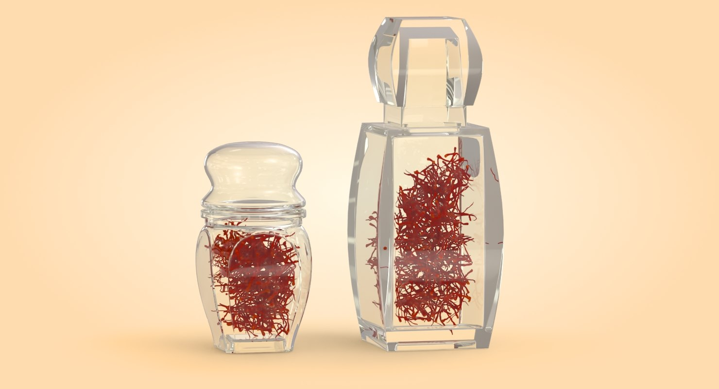 beautiful crystal bottle saffron 3D