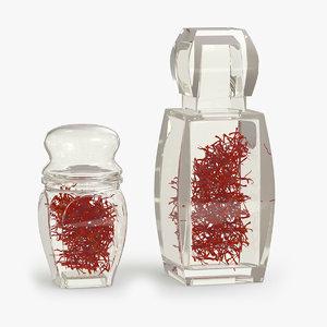 beautiful crystal bottle saffron 3D